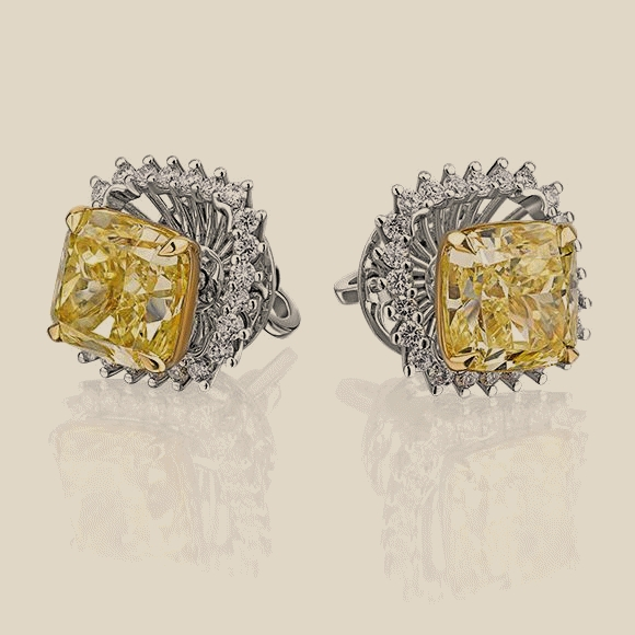 Серьги - 3.40 CT FANCY YELLOW/VS2 -  3.00 CT FANCY YELLOW/SI1