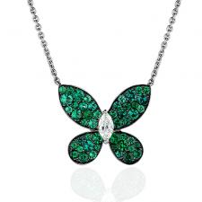 GRAFF PAVE BUTTERFLY, EMERALDS, WHITE GOLD