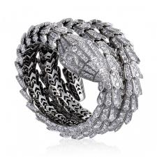 Bvlgari SERPENTI FULL DIAMOND PAVE LARGE BANGLE BRACELET