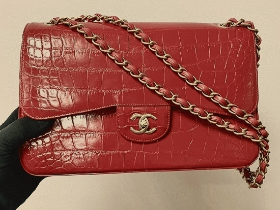Chanel - CHANEL Classic Jumbo Double Flap Bag Shiny Fuchsia Alligator with Gold-Tone Metal Hardware