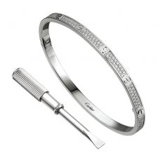 Cartier LOVE BRACELET, WHITE GOLD, DIAMONDS