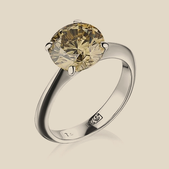 КОЛЬЦО NO NAME - 3.02 CT FANCY YELLOW-BROWN/VS1