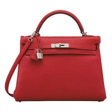 Hermes Rouge Casaque 28 Retourne Kelly II Taurillon Clemence
