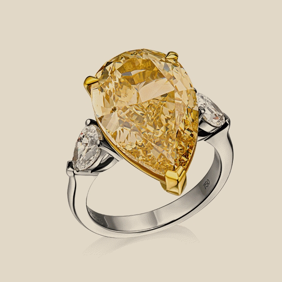 КОЛЬЦО NO NAME - 10.02 CT FANCY YELLOW/VS2