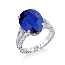 GRAFF PLATINUM BLUE OVAL CUT SAPPHIRE RING 10.12 CT