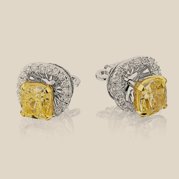 СЕРЬГИ NO NAME - 2.01 CT FANCY LIGHT YELLOW/VVS2 - 2.00 CT  FANCY LIGHT YELLOW/VVS2
