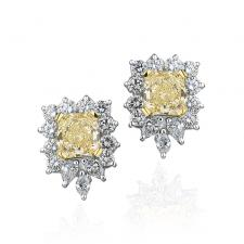Серьги С БРИЛЛИАНТАМИ 2.26 CT Fancy Light Yellow/VVS2 - 2.12 CT Fancy Light Yellow/VVS1