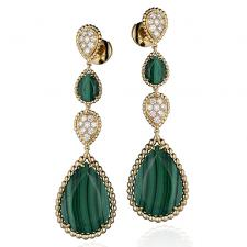 Boucheron SERPENT BOHEME MALACHITE CLIP EARRINGS