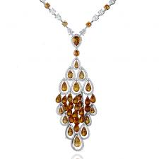 GRAFF ORANGE SAPPHIRE & DIAMOND NECKLACE