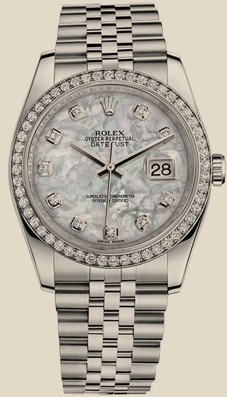 Швейцарские часы Rolex 36 mm, steel, white gold and diamonds