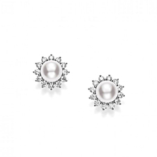 Mikimoto  CLASSIC ELEGANCE AKOYA CULTURED PEARL EARRINGS WITH DIAMONDS