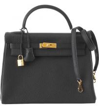 Hermes 35 Kelly Black Togo Bag Ghw