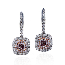 СЕРЬГИ NO NAME С БРИЛЛИАНТАМИ 0.30 CT FANCY BROWNISH PURPLISH PINK/I1- 0.29 CT FANCY PURPLISH PINK/I1