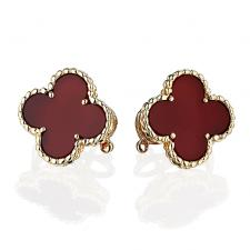 Van Cleef & Arpels. VINTAGE ALHAMBRA EARRINGS, CARNELIAN, YELLOW GOLD
