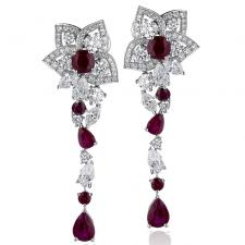 GRAFF RUBY (BURMA) & DIAMOND PEONY MOTIF DROP EARRINGS
