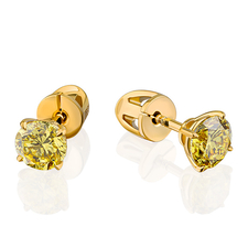 СЕРЬГИ NO NAME СЕРЬГИ С БРИЛЛИАНТАМИ 1.14 CT FANCY VIVID YELLOW/VS1 - 1.01 CT FANCY VIVID YELLOW/VS1