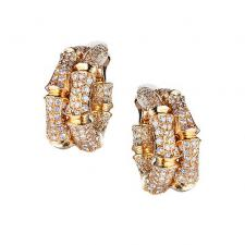 Cartier BAMBOO DIAMOND PAVE CLIP-ON EARRINGS