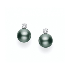 Mikimoto  BLACK SOUTH SEA CULTURED PEARL STUD EARRINGS WITH DIAMONDS