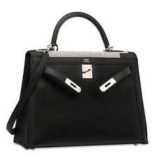 Hermes LIMITED EDITION BLACK SWIFT LEATHER & TOILE KELLY 32 PALLADIUM HARDWARE