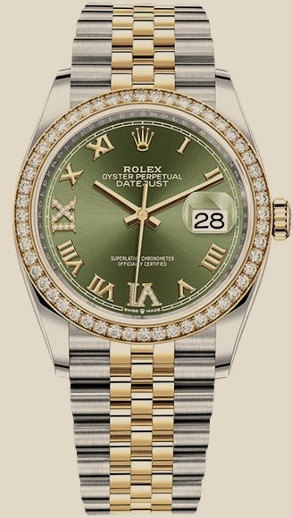 Швейцарские часы Rolex 36 mm, Oystersteel, yellow gold and diamonds