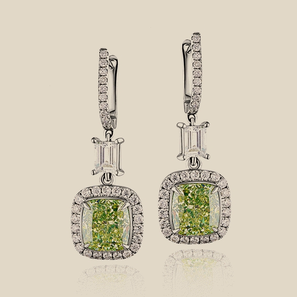 СЕРЬГИ NO NAME - 2.36 CT FANCY GREENISH YELLOW/VVS2 - 2.31 CT FANCY GREENISH YELLOW/VVS2