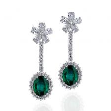 Серьги EMERALDS VIVID GREEN 3.74/2.96 CT