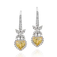 СЕРЬГИ NO NAME С БРИЛЛИАНТАМИ 1.19 CT FANCY YELLOW/VS2 - 1.00 CT FANCY YELLOW/VS1