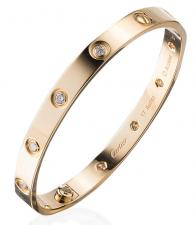 Cartier LOVE BRACELET. 10 DIAMONDS, YELLOW GOLD