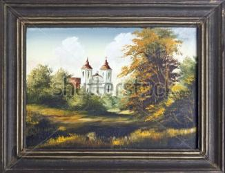 stock-photo-autumn-landscape-with-old-village-catholic-church-oil-painting-in-old-wooden-frame-117596575