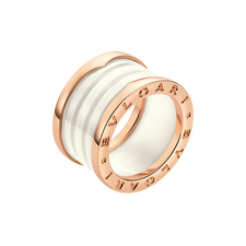 Bvlgari ROSE GOLD AND CERAMIC FOUR-BAND B.ZERO1 RING