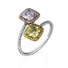 Leviev Jewelery С БРИЛЛИАНТАМИ 1,09 CT.NATURAL FANCY PINKISH PURPLE/1,10 CT.FANCY INTENSE YELLOW