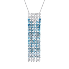 Bvlgari LUCEA DIAMOND AND BLUE TOPAZ WATERFALL NECKLACE