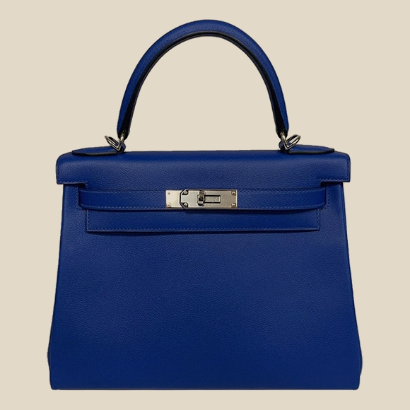 Hermes - KELLY RETOURNE 28 VEAU EVERCOLOR BLEU ROYAL/NATUREL PHW