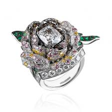 Boucheron ROSE RING, DIAMONDS, EMERALDS, WHITE GOLD