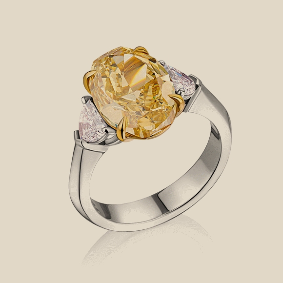КОЛЬЦО NO NAME - 5.01 CT FANCY INTENSE YELLOW/SI1